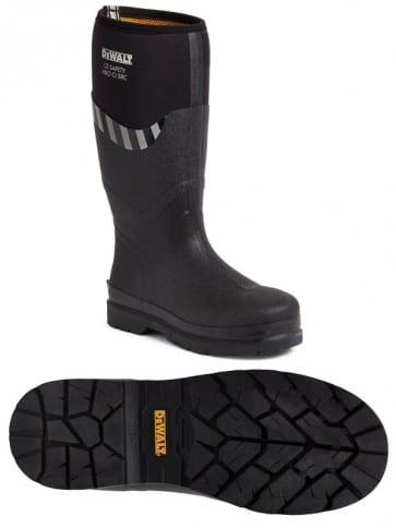 DeWALT Edmonston Black Rubber Safety Wellington Boots Size 8